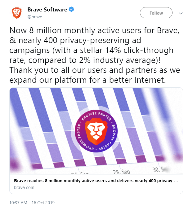 Crypto Browser Brave announcement