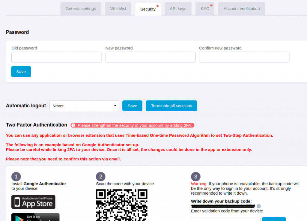 HitBTC Safety and security