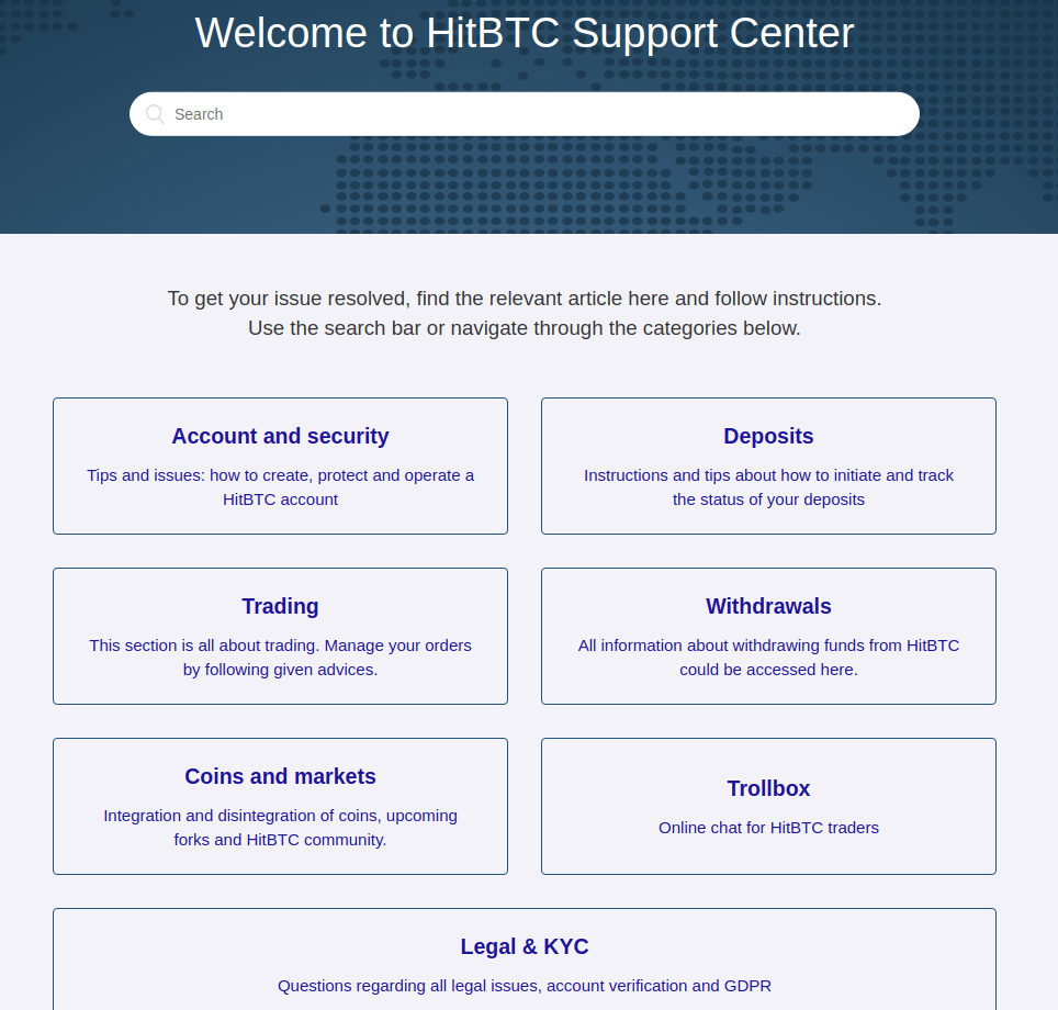 HitBTC Support Center Review