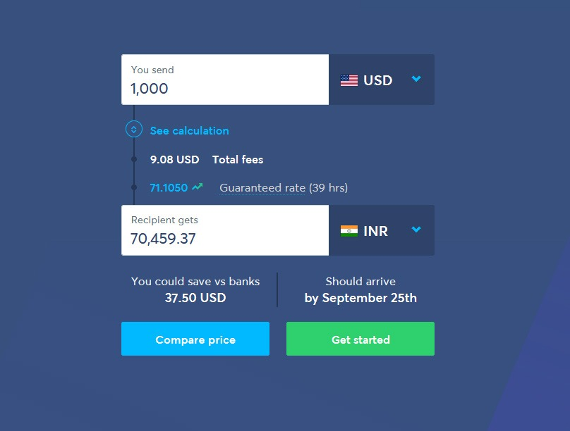 Transfer costs with TransferWise from US to India