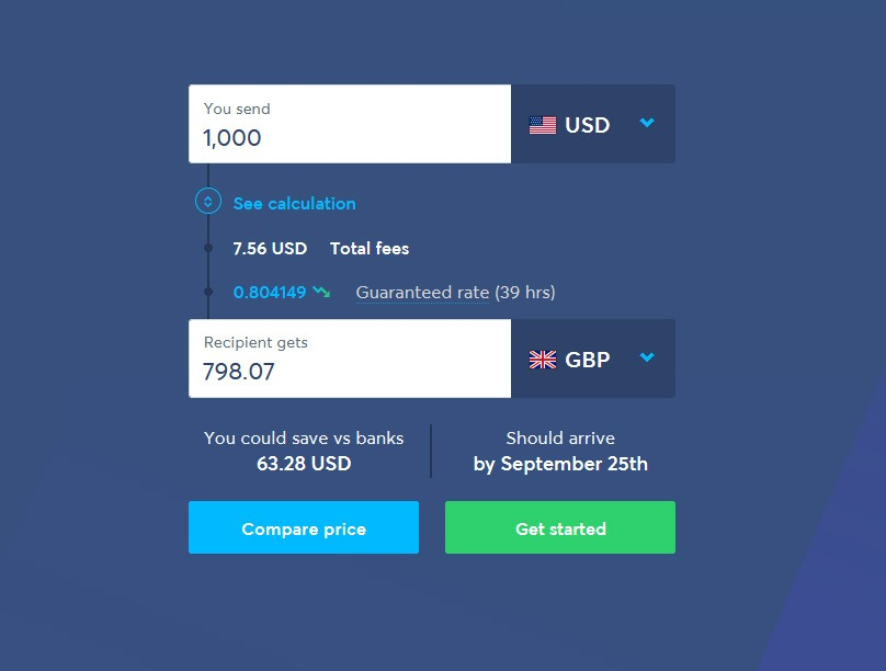 Transferwise Fees from US to UK