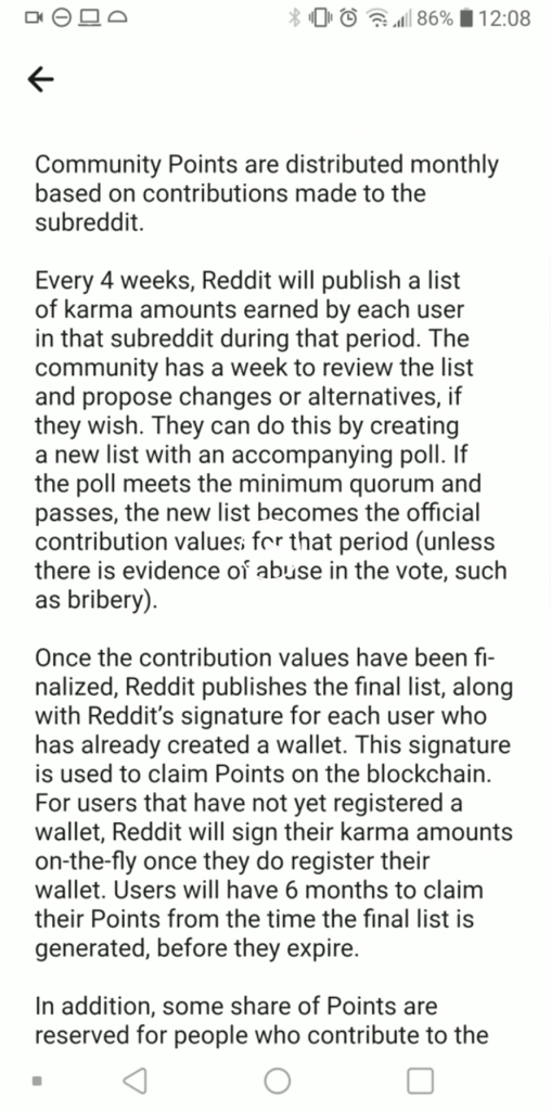 How will users get Reddit Ethereum Points 1