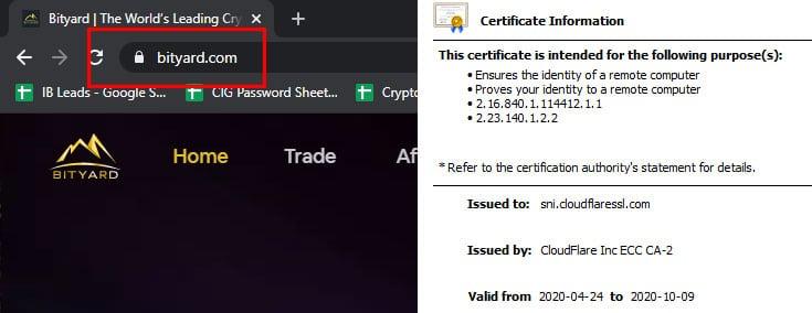 Secure Padlock and Bityard SSL Certificate 1