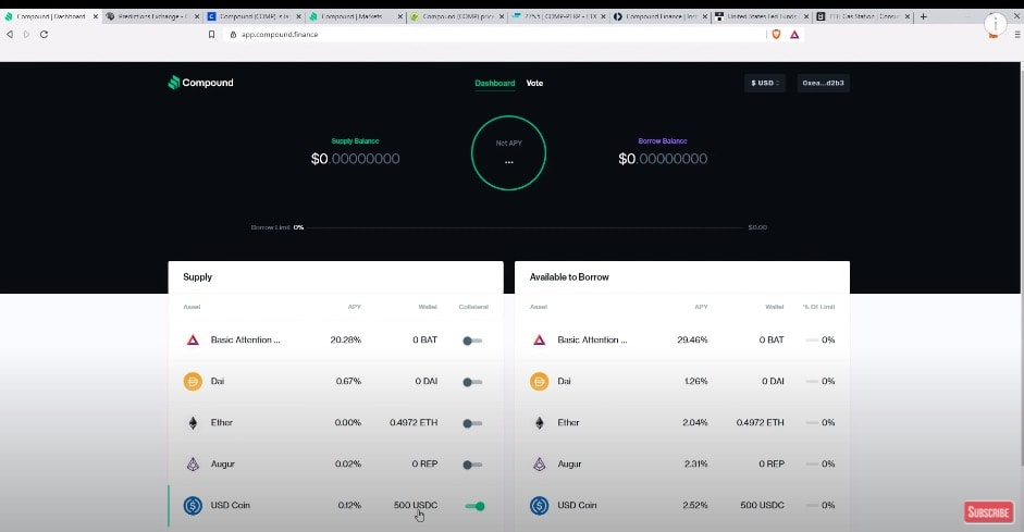 Choose which cryptocurrency you wish to supply to the platform