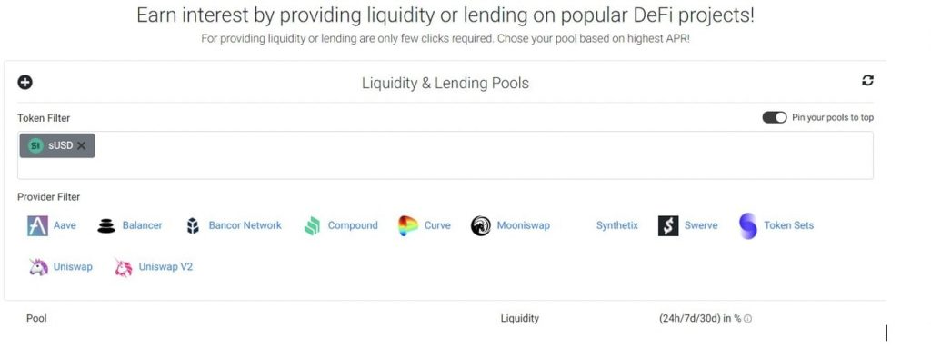 Earn feature allows users to stake tokens in various liquidity pools