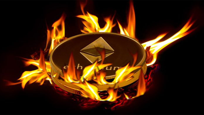 Amount of Ethereum burned by a recently implemented upgrade that burns transaction fees that accustomed visit miners has surpassed 200000